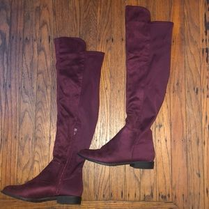 Shoes - Burgundy Over the Knee Boots